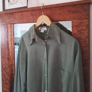 Express Silk Jungle Green Collared Blouse